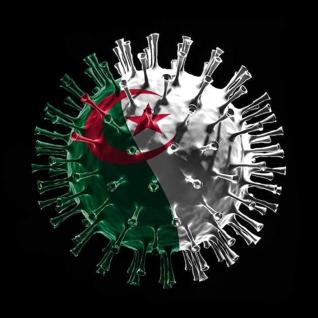 Flaga algierii na covid-19 to koncepcja wirusa. renderowanie 3d