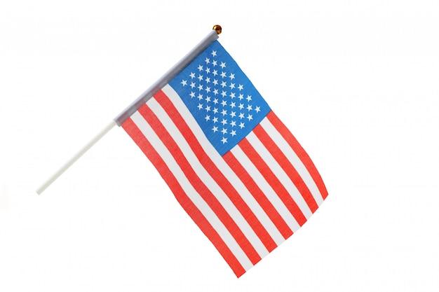 Flaga amerykańska na białym tle