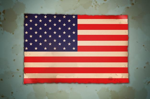 Flaga amerykańska usa. na dzień pamięci usa, dzień weterana, święto pracy lub obchody 4 lipca. filtr zdjęć w stylu vintage