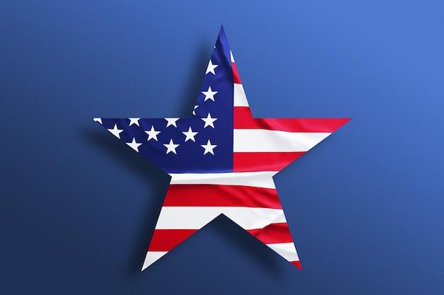 Flaga amerykańska w kształcie na niebieskim tle. gwiazda usa w barwach narodowych ameryki. dzień niepodległości.