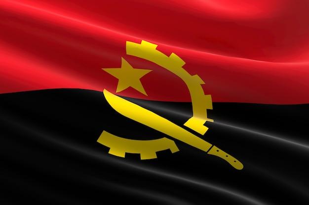 Flaga angoli. 3d ilustracja machająca flaga angoli.