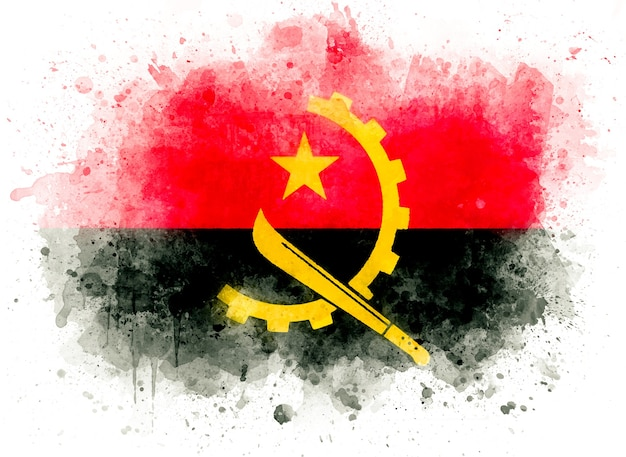 Flaga angoli, ilustracja akwarela