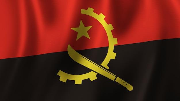 Flaga angoli macha zbliżenie renderowanie 3d z wysokiej jakości obrazem z teksturą tkaniny