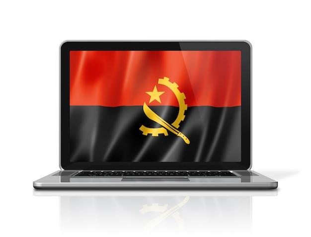 Flaga angoli na ekranie laptopa na białym tle. renderowanie 3d ilustracji.