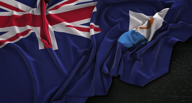Flaga anguilla pomarszczona na ciemnym tle renderowania 3d