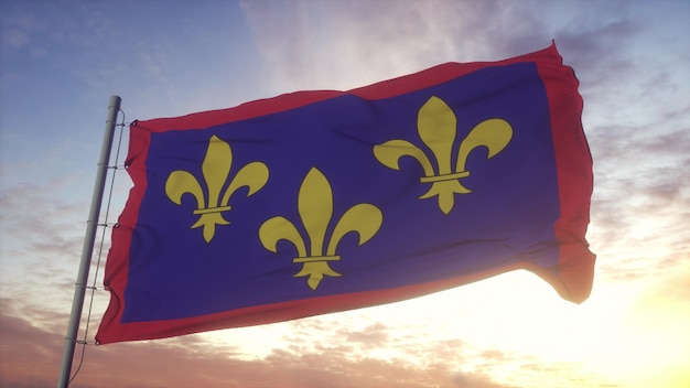 Flaga anjou, francja, macha na tle wiatru, nieba i słońca. renderowania 3d.