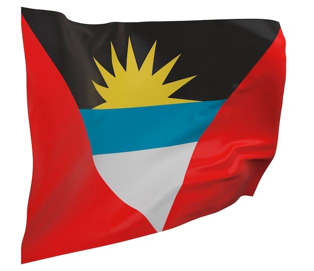 Flaga antigui i barbudy na białym tle. macha sztandarem. flaga narodowa antigui i barbudy