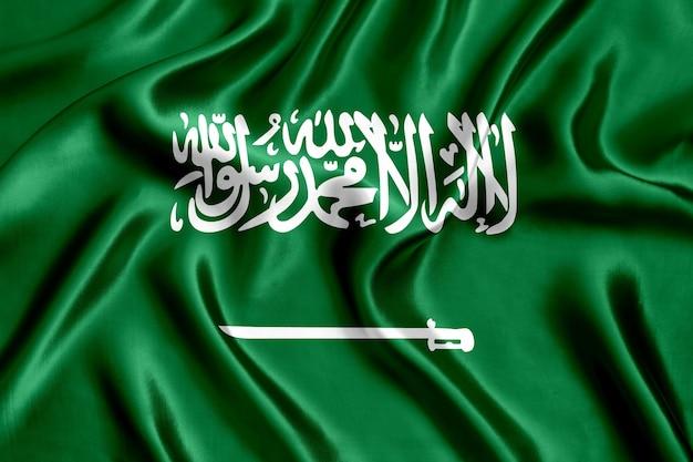 Flaga arabii saudyjskiej jedwabiu z bliska