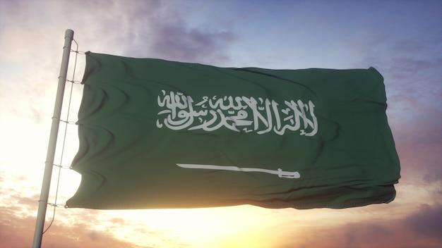 Flaga arabii saudyjskiej macha na wietrze przed głębokim pięknym niebem o zachodzie słońca. renderowanie 3d