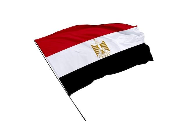 Flaga arabskiej republiki egiptu na białym tle