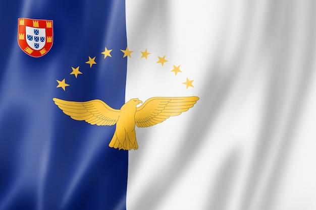 Flaga archipelagu azorów, portugalia macha kolekcja transparentu. ilustracja 3d