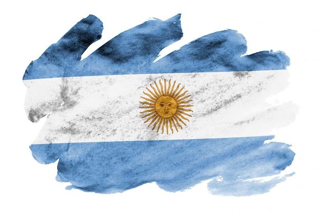 Flaga argentyny jest przedstawiona w płynnym stylu akwareli na białym tle