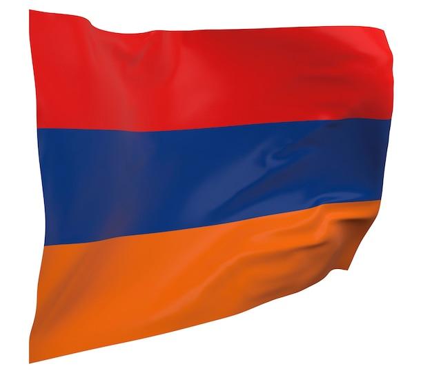 Flaga armenii na białym tle. macha sztandarem. flaga narodowa armenii