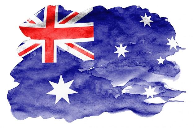 Flaga australii jest przedstawiona w płynnym stylu akwareli na białym tle