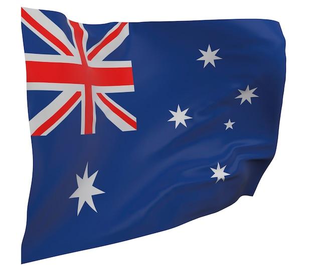 Flaga australii na białym tle. macha sztandarem. flaga narodowa australii