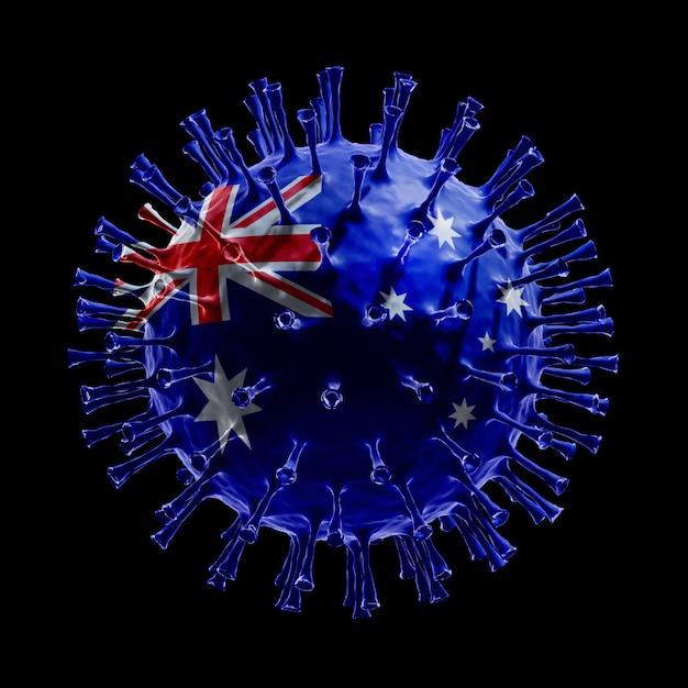 Flaga australii na covid-19 to koncepcja wirusa. renderowanie 3d