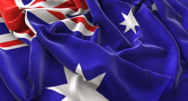 Flaga australii ruffled pięknie macha makro close-up shot