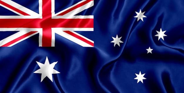 Flaga australii z bliska jedwabiu