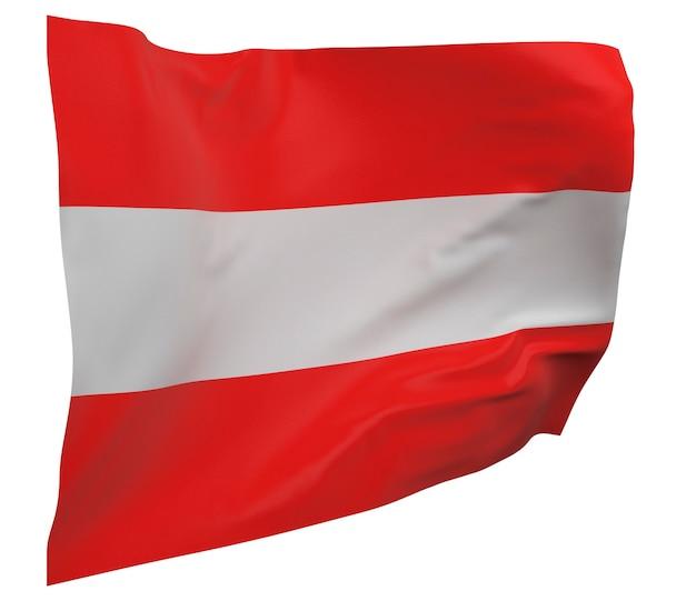 Flaga austrii na białym tle. macha sztandarem. flaga narodowa austrii
