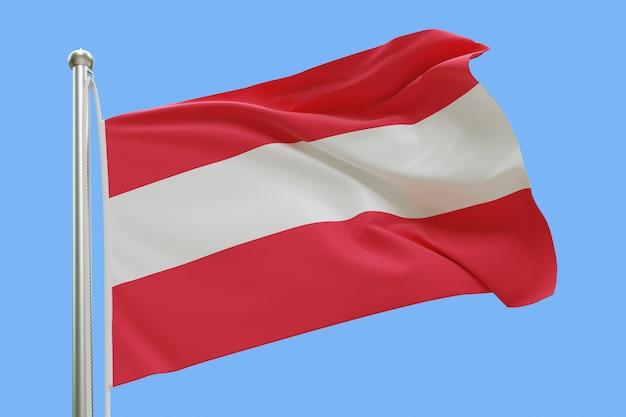Flaga austrii na masztem macha na wietrze. pojedynczo na niebieskim niebie