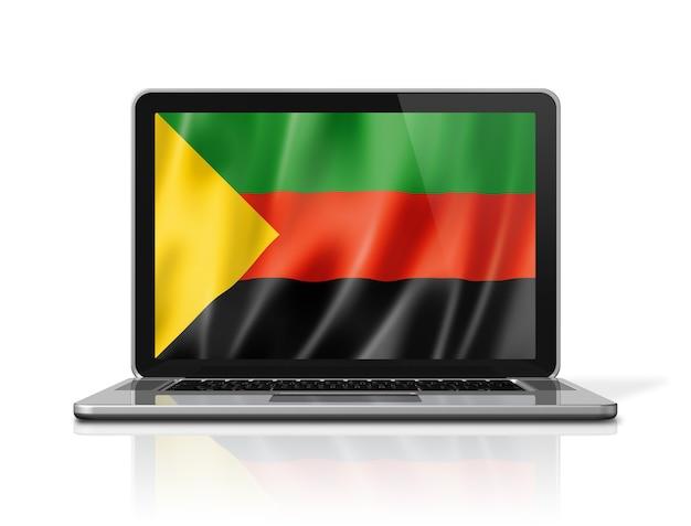 Flaga azawad mnla na ekranie laptopa na białym tle. renderowanie 3d ilustracji.
