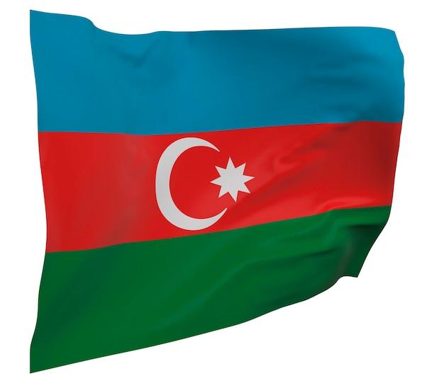 Flaga azerbejdżanu na białym tle. macha sztandarem. flaga narodowa azerbejdżanu