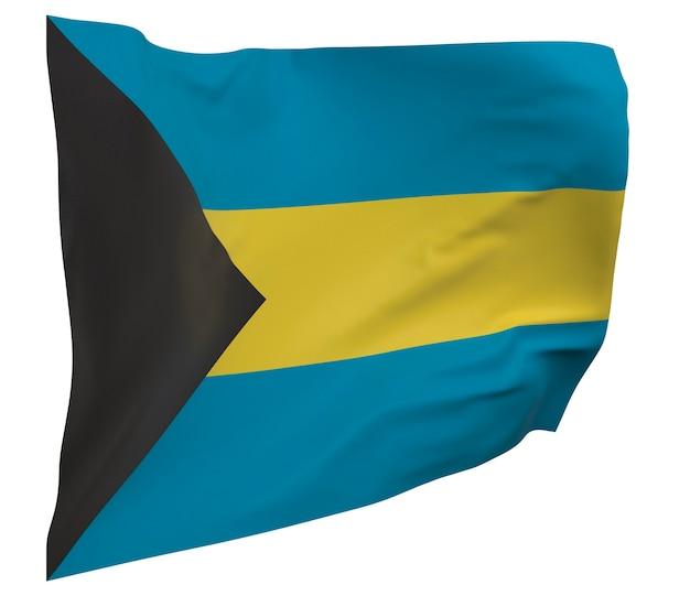 Flaga bahamów na białym tle. macha sztandarem. flaga narodowa bahamów