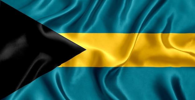 Flaga bahamów tło zbliżenie jedwabiu