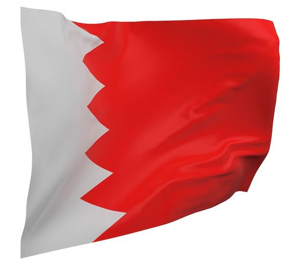 Flaga bahrajnu na białym tle. macha sztandarem. flaga narodowa bahrajnu