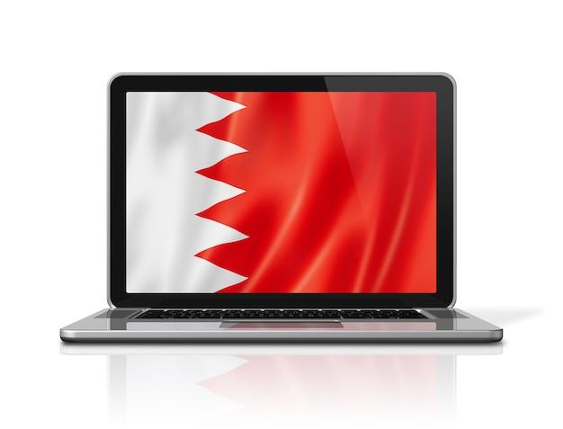 Flaga bahrajnu na ekranie laptopa na białym tle. renderowanie 3d ilustracji.