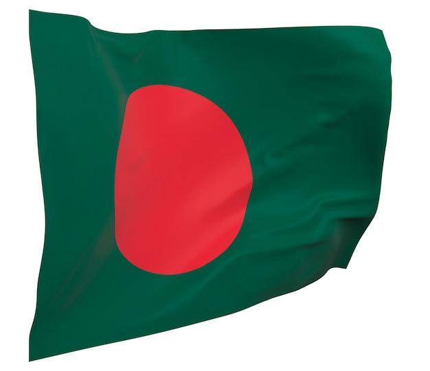 Flaga bangladeszu na białym tle. macha sztandarem. flaga narodowa bangladeszu