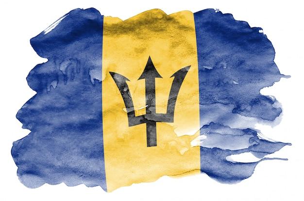 Flaga barbadosu jest przedstawiona w płynnym stylu akwareli na białym tle