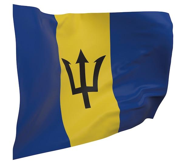 Flaga barbadosu na białym tle. macha sztandarem. flaga narodowa barbadosu