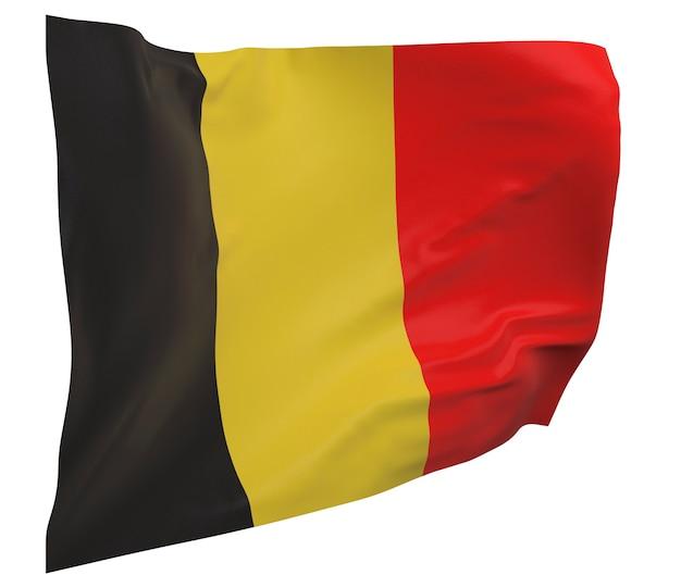 Flaga belgii na białym tle. macha sztandarem. flaga narodowa belgii