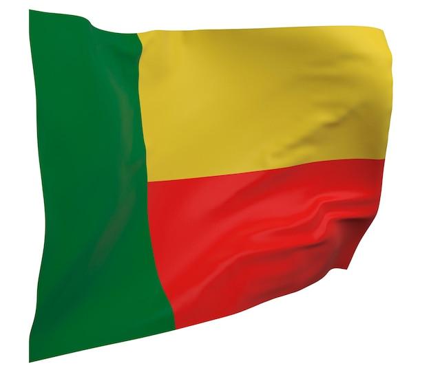 Flaga beninu na białym tle. macha sztandarem. flaga narodowa beninu