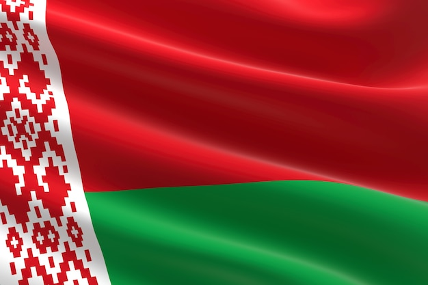 Flaga białorusi. 3d ilustracja macha flagi białoruskiej.