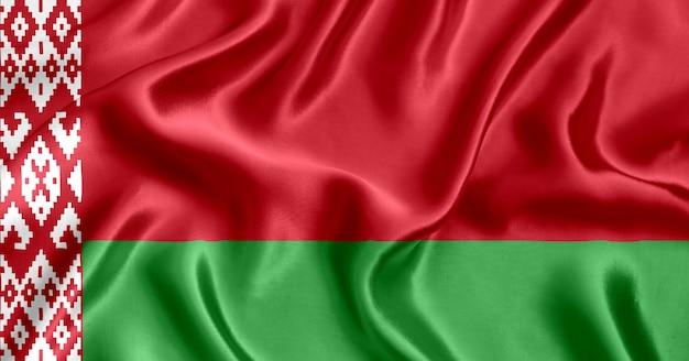 Flaga białorusi jedwabne tło szczegół