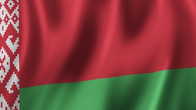 Flaga białorusi macha zbliżenie renderowanie 3d z wysokiej jakości obrazem z teksturą tkaniny