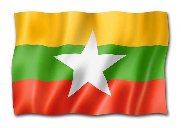 Flaga birmy myanmar na białym tle