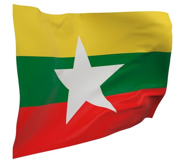 Flaga birmy na białym tle. macha sztandarem. flaga narodowa birmy