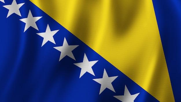 Flaga bośni i hercegowiny macha zbliżenie renderowanie 3d z wysokiej jakości obrazem z teksturą tkaniny