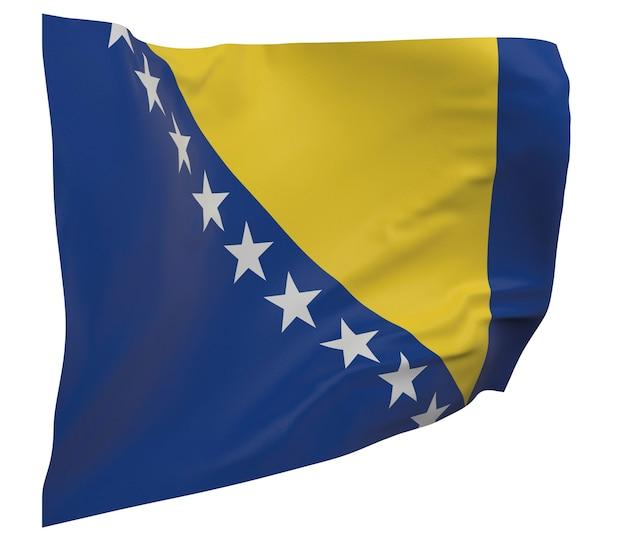 Flaga bośni i hercegowiny na białym tle. macha sztandarem. flaga narodowa bośni i hercegowiny