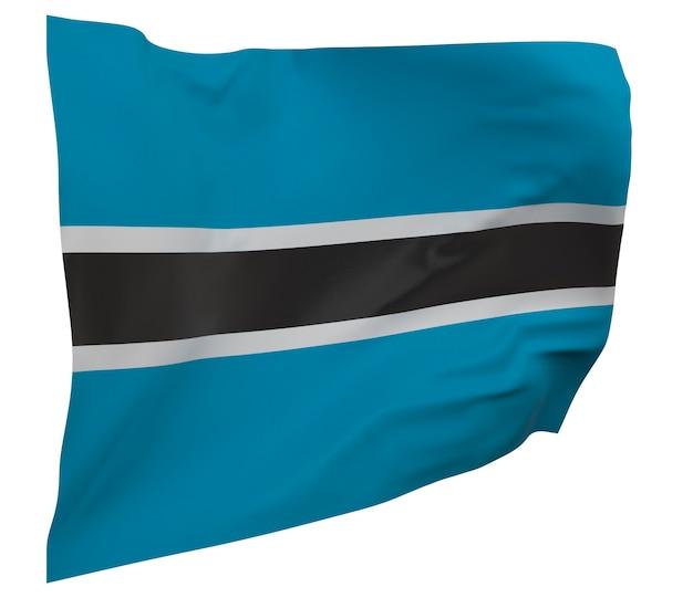 Flaga botswany na białym tle. macha sztandarem. flaga narodowa botswany