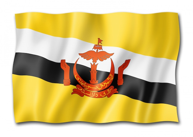 Flaga brunei na białym tle