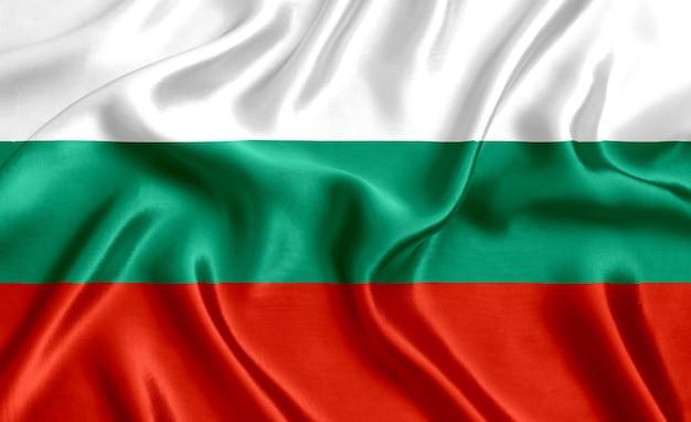 Flaga bułgarii jedwabne tło szczegół