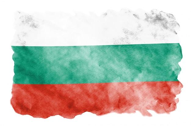 Flaga bułgarii jest przedstawiona w płynnym stylu akwareli na białym tle