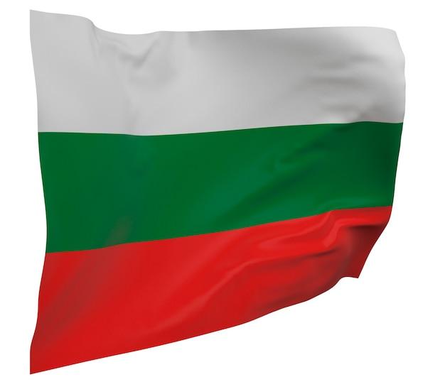 Flaga bułgarii na białym tle. macha sztandarem. flaga narodowa bułgarii