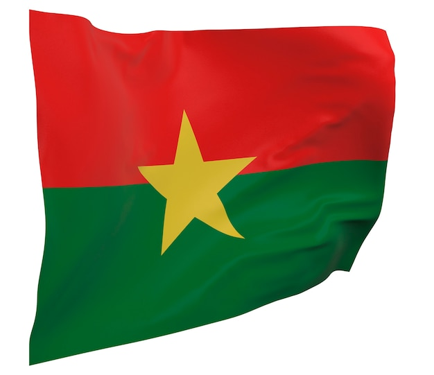 Flaga burkina faso na białym tle. macha sztandarem. flaga narodowa burkina faso