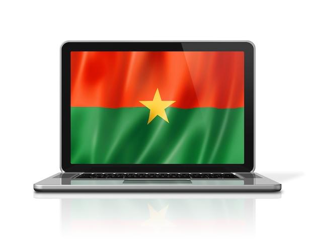 Flaga burkina faso na ekranie laptopa na białym tle. renderowanie 3d ilustracji.