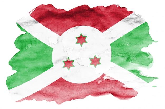 Flaga burundi jest przedstawiona w płynnym stylu akwareli na białym tle